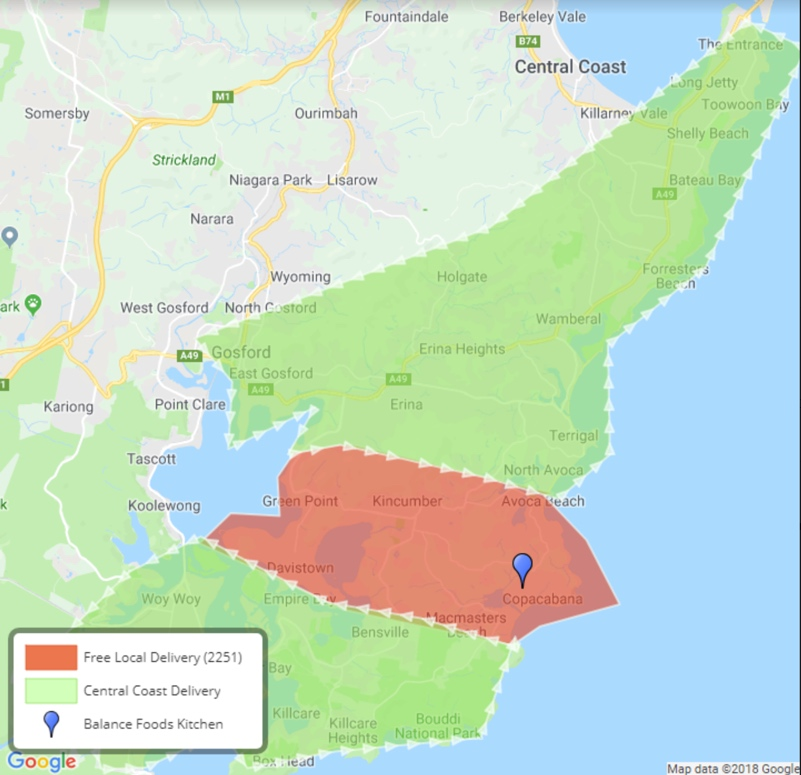 central coast meal delivery locations
